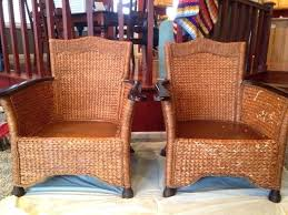 rattan chair pier one the chair on the left is repaired wicker