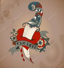 old style tattoo heart with flowers and dagger valentine