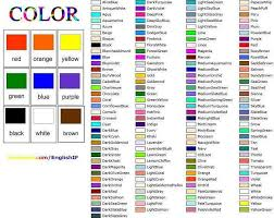 list of colours colours english for life