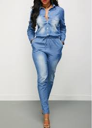sleeve denim jumpsuit drawstring waist button up sleeve denim jumpsuit modlily