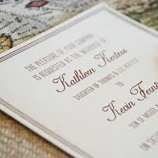 vintage map destination letterpress wedding invitation