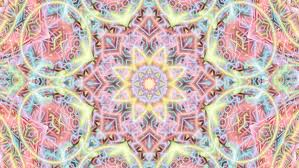 Pastel Complex Star Mandala Composition Rotating Color Stock