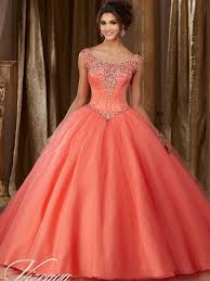 coral quince dress vizcaya 89108 tulle quinceanera gown dress promheadquarters