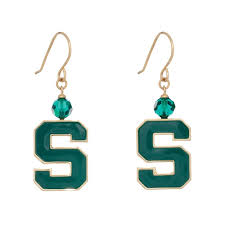 block s logo earrings