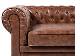 canap chesterfield ancien canapé 2 à 3 places en simili cuir marron vintage chesterfield