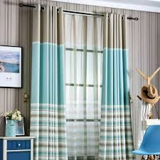 Blue And Beige Curtains Blue Horizontal Striped Print Poly Cotton Blend Color Block
