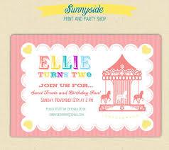 carousel merry go round carnival birthday invite printable
