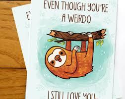 sloth valentines day card flower fox kitsune card anniversary valentines day card