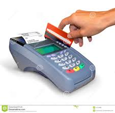 a purchase with credit card reader royalty free stock