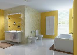 interior contempo modern yellow and white bathroom design and