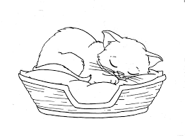 cats sleeping coloring picture for kids embroidery pinterest