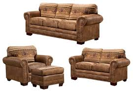 Wild Horses  Piece Set With Sleeper Rustic Living Room Furniture - Rustic living room set