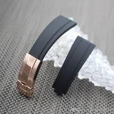 stainless steel buckle bracelet images Waterproof rubber watchband stainless steel fold buckle watch band jpg