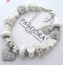sterling silver charm bead bracelet images Authentic pandora sterling silver bracelet with white crystal jpg