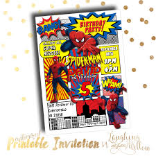 spiderman party invitation template choice image party