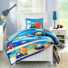 Blue Bed Set Construction Trucks Boys Bedding Twin Full Queen Blue Comforter