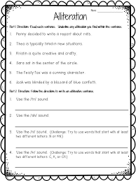 ideas of alliteration worksheets for 6th grade for your cover