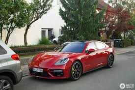 porsche panamera turbo s e hybrid in deep red looks a stunner