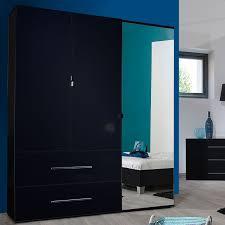 chambre laque noir armoire dressing 3 portes 2 tiroirs laqué noir uno univers chambre