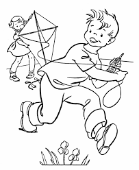 spring coloring pages kids spring flying kyte coloring