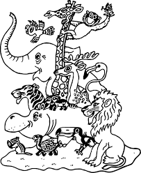 cartoon pictures zoo animals family coloring page wecoloringpage