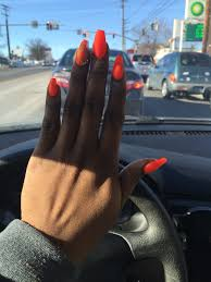 neon orange construction nails acrylic design matte nails