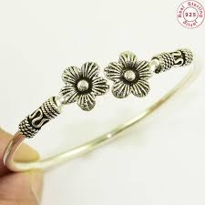 flower silver bracelet images Handmade flower design plain silver bracelet bangle rs 1105 jpg