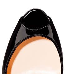 christian louboutin 100 patent leather peep toe pumps black