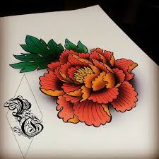 japanese peony tattoo design