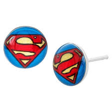 superman earrings dc comics superman logo stud earrings in sterling silver target