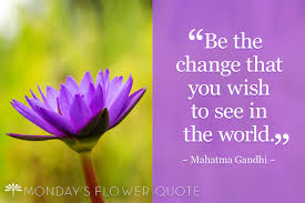 quote gandhi change world be the change you wish to see monday u0027s flower quote