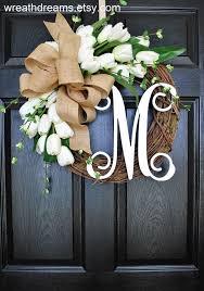 monogram wreath best seller white tulips grapevine wreath with burlap year