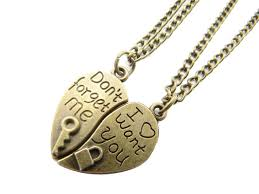 valentines necklace 2pcs couples valentines necklaces with don t forget me and