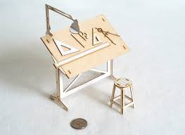 architectural model kits miniature drafting table model kit with real wood tabletop