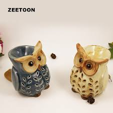 vintage ceramic owl candles heating essential diffuser aroma