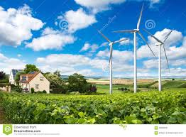solar panels on houses houses with solar panels on roof and wind turbines stock image