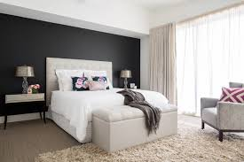 Bed Back Wall Design Bulkhead With Downlights And Then Back Wall Paint Or Wallpaper