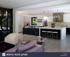 open plan house open plan living room and kitchen in house atherton stock