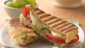 pesto mozzarella and tomato panini recipe bettycrocker