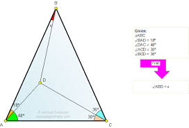 online geometry tutoring problem 694 triangle angles 30 degrees