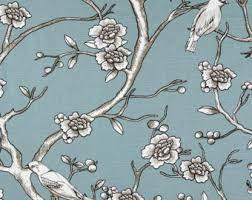 Cherry Blossom Upholstery Fabric Bird Fabric Etsy