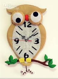 2013 mum diy baby clock fabric child clock owl wall clock quartz
