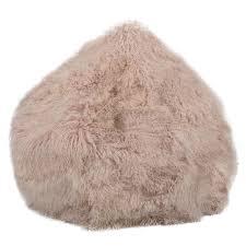 blush mongolian sheepskin bean bag hides of excellence