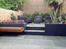 sandstone paving patio hardwood floating bench dark grey rendered