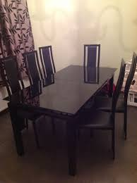 Black Glass Extending Dining Table 6 Chairs Must Go Harvey Black Glass Noir Extending Dining Table And 6