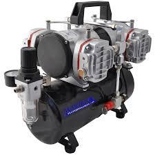 3mm dual act airbrush 7cc cup w tc 848 quad head compressor