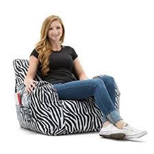 Zebra Dining Chair Covers Amazon Com Big Joe Dorm Bean Bag Chair Zebra Kitchen U0026 Dining