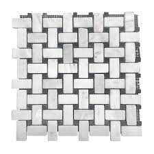Elegance Black And White Mosaic by Marble Fantasy White Basket Weave Mosaic Tiles Sefa Stone