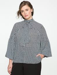 blouse with tie neck patterned tie neck bishop sleeve blouse eloquii
