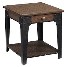 Natural Wood End Tables Natural Oak Finish 52 W X 19 D X 35 H In Wood And Metal Legs